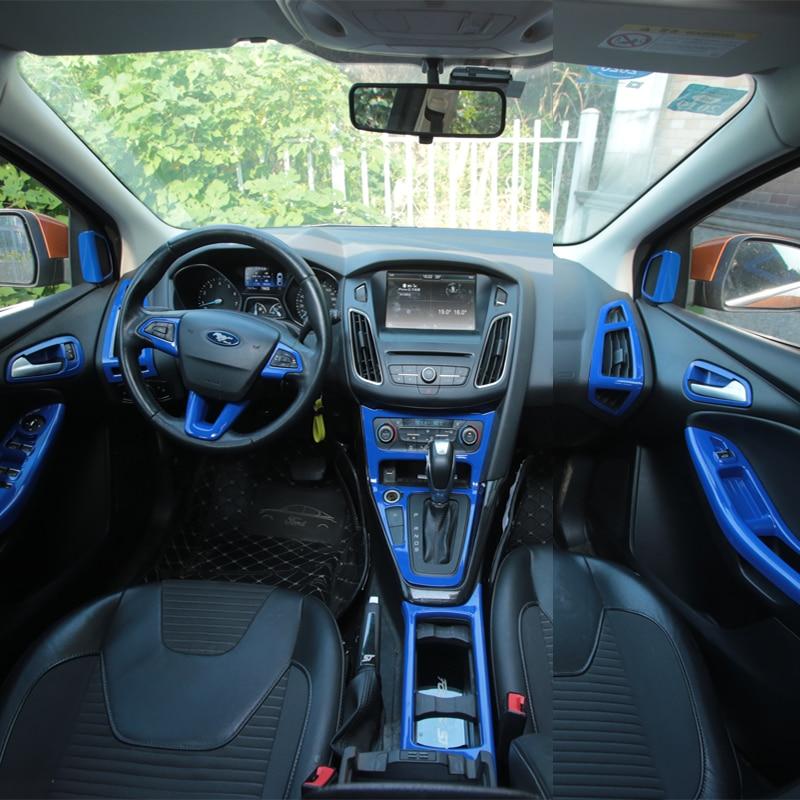 Foal Burning Car Blue Paint Steering Wheel Trim Inner Door Handle Bowl Box Air Vent Cover Sticker For Ford Focus 3 4 MK3 MK4