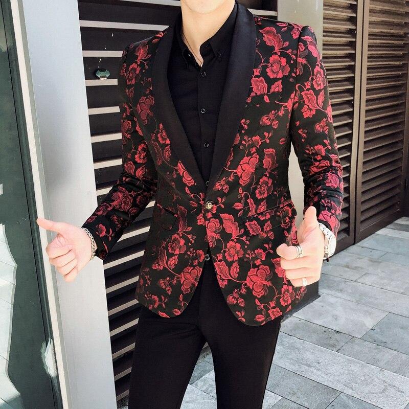 Estilo britânico Homens de Qualidade Blazer Plus Size Blazer Vermelho Dos Homens Outono Inverno Novo Dos Homens Do Casamento Do Noivo Blazer Jaqueta Slim Fit smoking 60 - 2