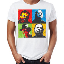 Mannen T-shirt Horror Movie Pictogrammen Leatherface Jason Freddy Krueger Michael Myers Awesome Kunstwerk Gedrukt Tee(China)