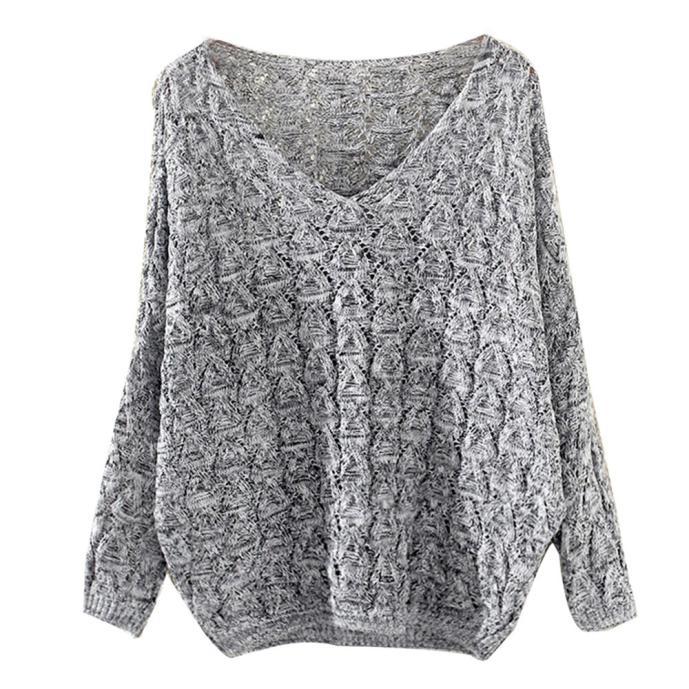 Women's Hollow Out Bat Long Sleeve Loose V Collar Sweater Jersey Mujer свитер женский New Sweater For Women 2019 джемпер женский
