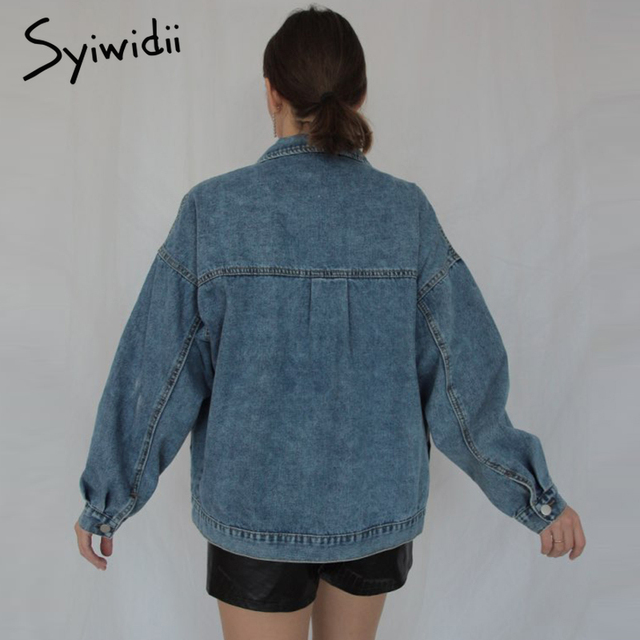 Syiwidii Jean Jacket Women Clothes Oversized Jeans Denim Coat Korean Coats Spring Fall 2021 New Jackets for Women Solid Casual 4
