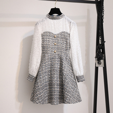 France vintage luxury dress autumn 2019 fashion white tassel long sleeve patchwork plaid tw