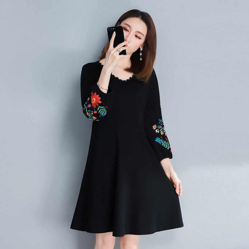 2020 bordado preto floral vestido feminino vintage com decote em v primavera outono solto vestidos casuais plus size 5xl wxf705