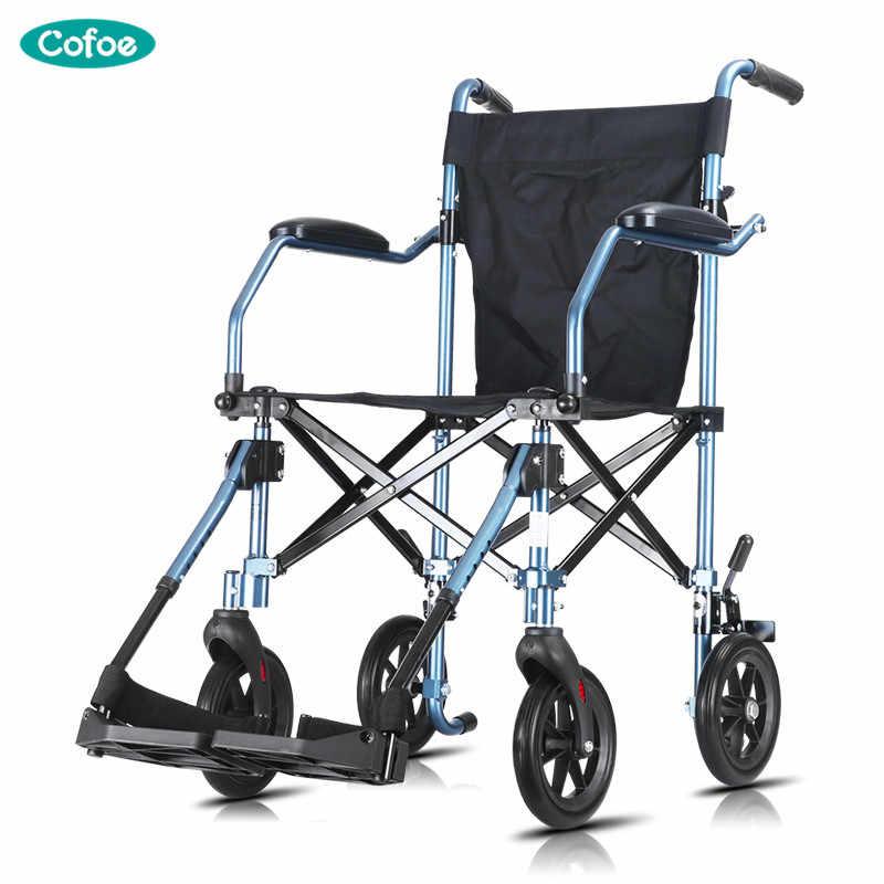 Cofoe כיסא גלגלים מתקפל נייד ישן אנשים נסיעות קטנוע אלומיניום אור & קטן יד-דחף ווקר לקשישים או נכים