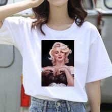 Marilyn Monroe drukuj damska koszulka letnia z krótkim rękawem moda damska koszulka damska Casual białe topy Graphic Tee odzież damska tanie tanio CN (pochodzenie) Lato COTTON Poliester tops Tees REGULAR Suknem WOMEN NONE Na co dzień O-neck