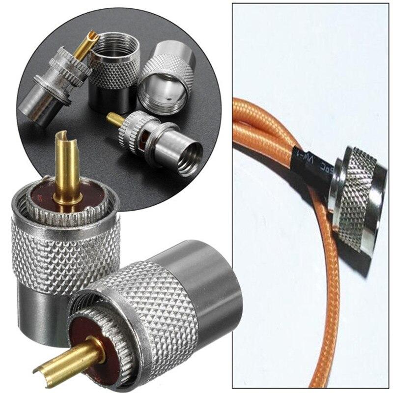 2 uds Metal latón plateado UHF PL-259 macho soldadura clavija conector rf para RG8 RG213 RG214 Coaxial Cable adaptador conector Montaje neumático conector de empuje rápido tipo UE acoplador de alta presión trabajo en compresor de aire estándares europeos de alta calidad