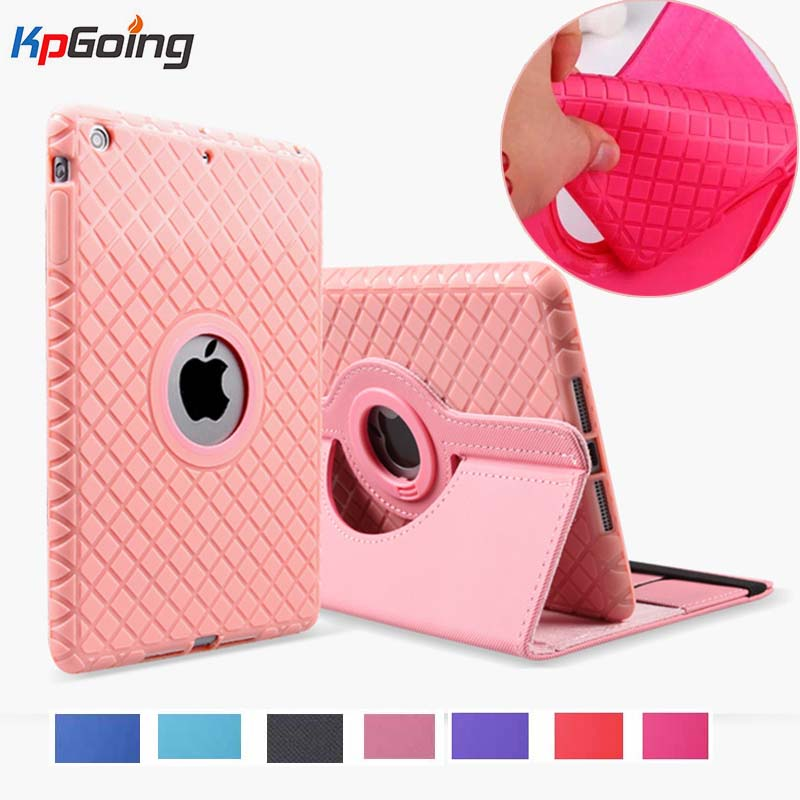 360 Degree Rotating Silicon Leather Smart Cover Case For Apple IPad Air 1 Air 2 5 6 New IPad 9.7 2017 2018 A1822 A1823 A1893