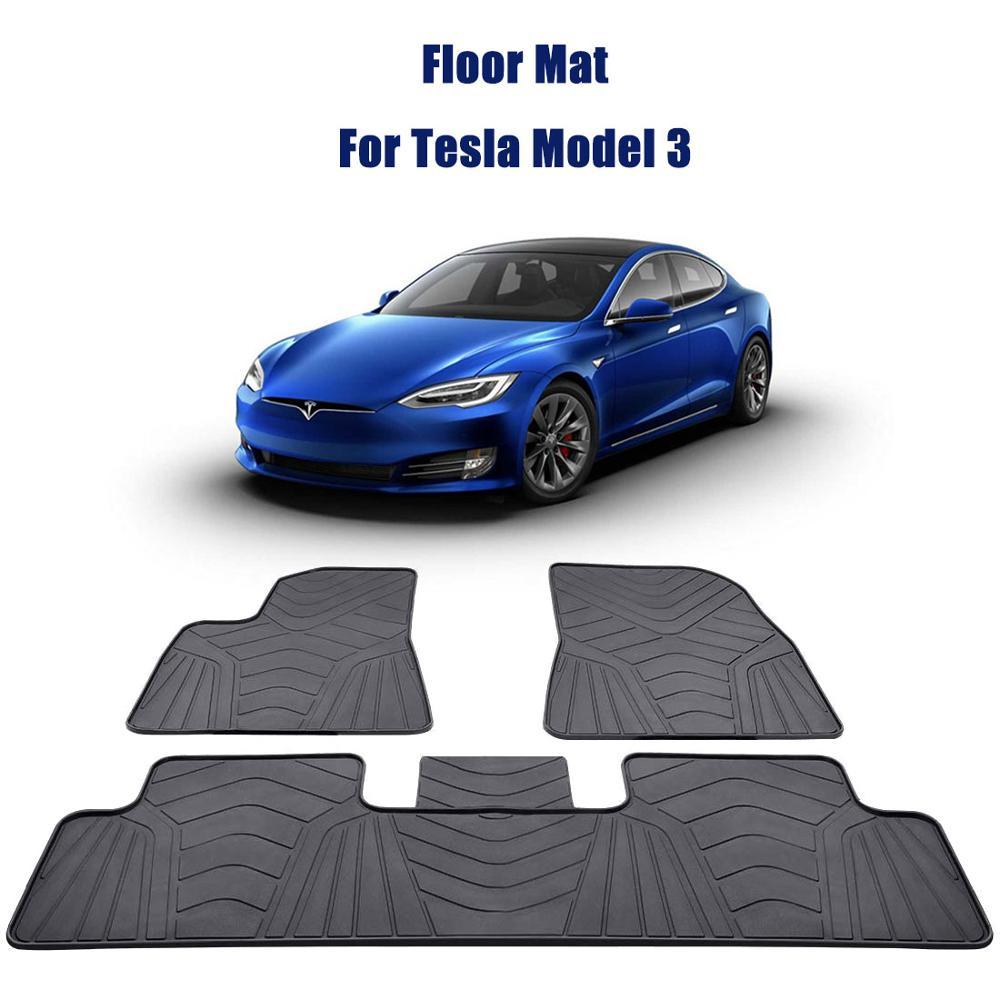Tapis de sol de voiture 3 pièces pour Tesla modèle 3 2017-2019 tapis de sol anti-dérapant plus grande couverture inodore tous temps LHD RHD