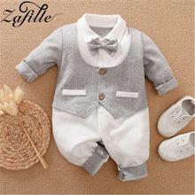 Zafille bebê traje com gravata 2021 bebê menino macacão masculino recém-nascido para crianças do bebê menino gentelman roupas