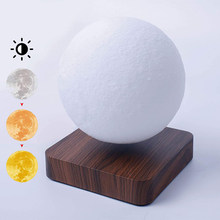 Novelty Magnetic Levitation Moon Lamp LED 3D Levitating Night Light Touch Control Kids Gift for Room Decor Floating Table Lamp