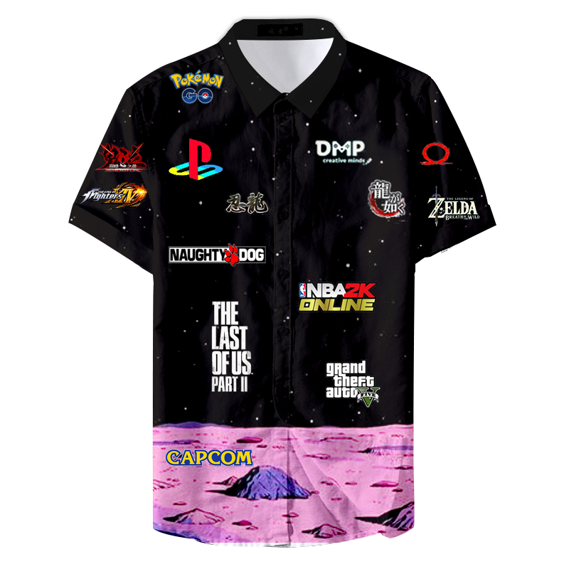 2019 Summer Button Down Collar 5xl Game Cute Pattern Men Casual Shirt