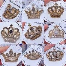 Модные ювелирные изделия высокого качества винтажная Золотая брошь «Корона» булавка австрийский кристалл имитация жемчуга цветок брошь свадебные аксессуары