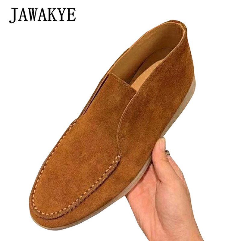 Casual Kidsuede Men Shoes Comfortable Real Leather Flat Shoes Male 2019 High Quality Round Toe Lazy Shoes Slip-on Loafers Shoes