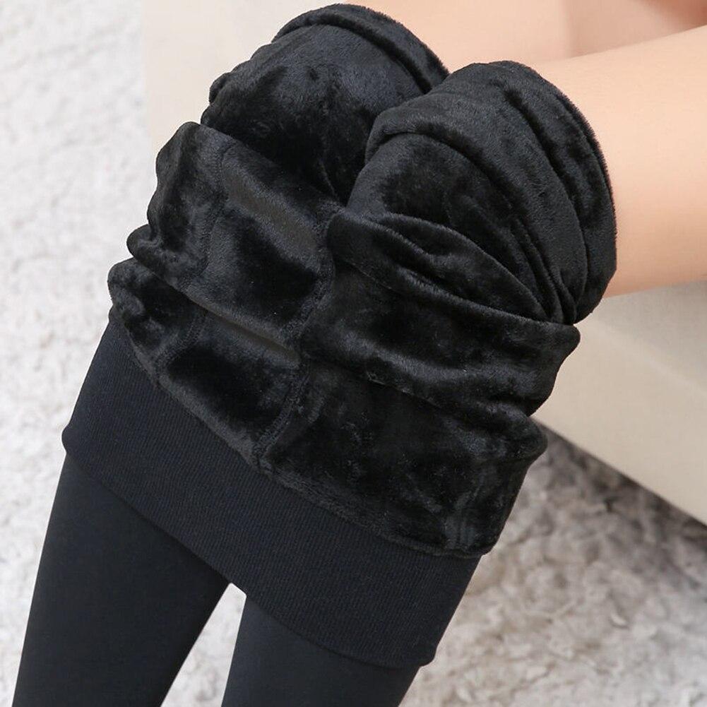 Women's Winter Warm Leggings Ankle-Length Solid Pants High Waist Pants Plus Velvet Thickening Lady Plus Fat Pants Leggings