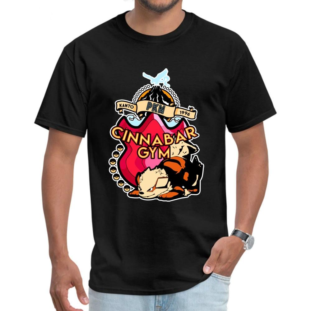 Cinnabar Game T-shirts Summer Autumn O-Neck 100% Cotton Tops Tees For Men Customized Pokemon Tshirt Japan Anime Shirts Black