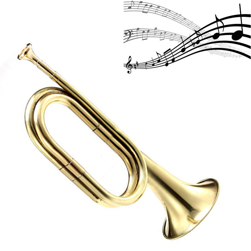 Bugle Trumpet Brass Copper Cavalry Horn With Mouthpiece For School Band Practice Beginner Military Orchestra Jazz Instrument