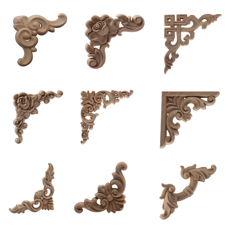 Carved Unpainted European Exquisite Long Floral Leaves Rubber Wood  Furniture Window Corner Wood Applique Onlay  Wood Figurines