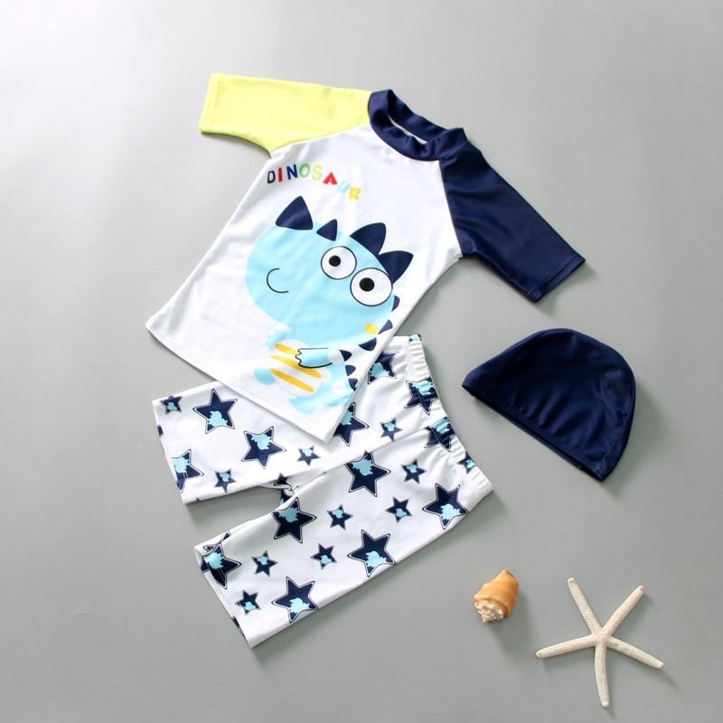 KID'S Swimwear Boy Split Swimsuit Swimming Trunks Swimming Cap Large Children Wen Quan Bao Cartoon Bathing Suit Three-piece Set-