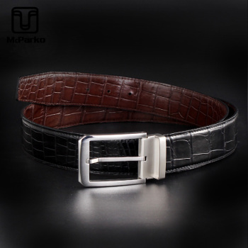 McParko Authentic Crocodile Leather Men Belt Genuine For Business Luxury Double-sided Waist