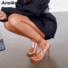 Aneikeh NEW 2020 Fashion PVC Women Sandals Shoes Thin High H