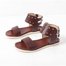 2020 mujeres Sandalias Mujer remache Retro zapatos de mujer PU Vintage, hebilla de correa de tobillo zapatos de verano de mujer calzado de Confort Plus tamaño