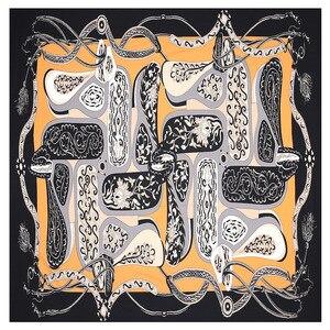 Image 5 - 2020 Nuova Cinghia Paisley Sciarpa Quadrata di Lusso di Marca 100% Twill di Seta Della Sciarpa Della Donna Bandana Fazzoletto Scialle Sciarpe per La Signora