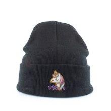 الخريف غطاء رأس شتوي للنساء الشتاء محبوك قبعة يونيكورن التطريز مترهل بيني للسيدات الأسود Skullies قبعة بتصميم هيب هوب