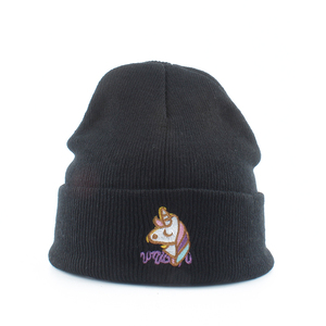 Image 1 - Gorro de punto para mujer, gorros holgados con bordado de unicornio, negros, estilo Hip Hop, para Otoño e Invierno