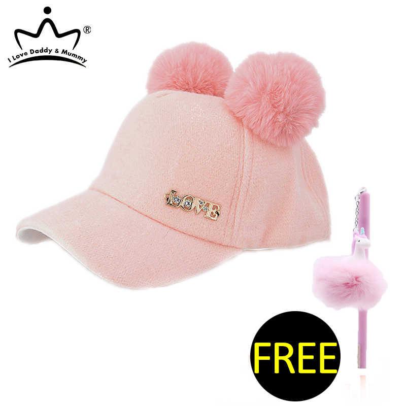 Śliczne Pokój Pompom Dzieci Czapka zimowa Ciepłe niemowląt Hat Solid Color Regulowany Cashmere Dzieci Dziewczynki Cap