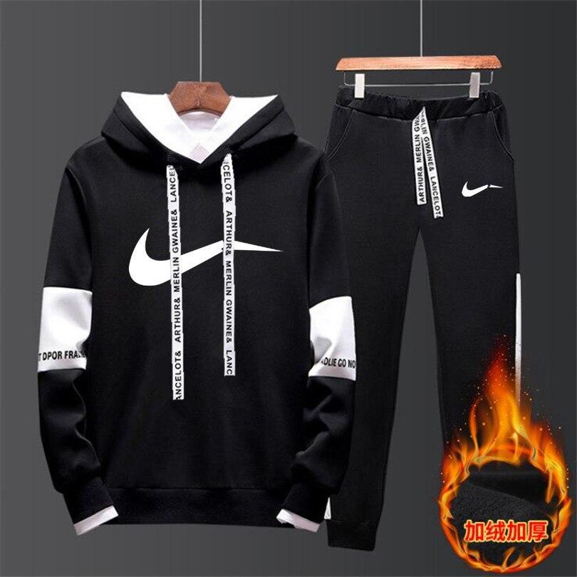 201 Autumn & Winter Large Size New Style MEN'S Wear Fleece Printed Sports Clothing Two-Piece Set Plus Velvet Men Hoodie Suit