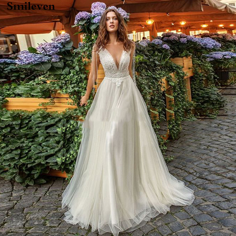 Smileve Princess Wedding Dress A Line Boho Bride Dresses With Peals Wedding Gowns Beaded Vestido De Novia