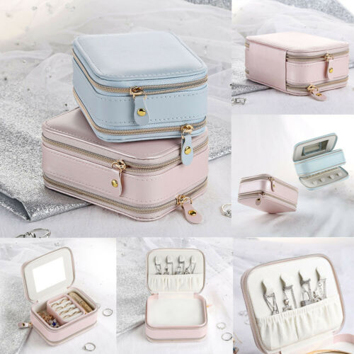 Womens Portable Travel Jewelry Box Organizer PU Jewellery Ornaments Case Storage