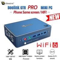 NEUE Beelink GTR PRO MINI PC Windows10 HIFI Telefon Gleichen Bildschirm Computer WIFI6 Gaming Fingerprint AMD Ryzen 5 3550H TV BOX Büro