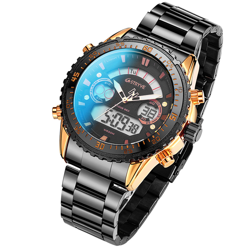 STYRVE Brand S8020 Sports Watch 50M Waterproof Stainless Steel Luxury Japan 2035 Movement Quartz Digital Watches Montre Homme