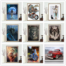 5D DIY Diamond Embroidered Full Circle Painting Animal Warrior Rhinestone Mosaic Home Decor