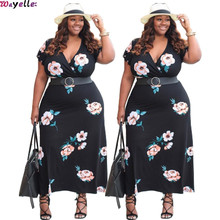 2019 NEW Womens Dress V-neck Big Print Europe US large Size Black Casual Cool Comfortable fashion Flower Ladys Clothing