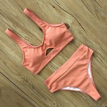 Sexy High Waist Bikini Women Swimsuit New Arrival Swimwear Hollow Out Print Striped Bathing Suit Beachwear Biquini Female 9