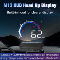Newest M13 Car HUD Head Up Display OBD2+GPS  EUOBD Overspeed Warning System Projector Windshield Auto Electronic Voltage Alarm Head-up Display     -