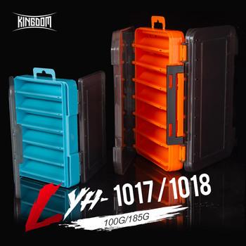 Królestwo pudełko rybackie 12 14 przegródek akcesoria wędkarskie haczyk do przynęty pudełka do przechowywania dwustronne pudełko ze sprzętem wędkarskim o wysokiej wytrzymałości tanie i dobre opinie KINGDOM Z tworzywa sztucznego Fishing tackle box Rzeka orange sky blue 104mm*140mm*32mm 132mm*198mm*36mm 100g 185g Plastic Storage Organizer Box