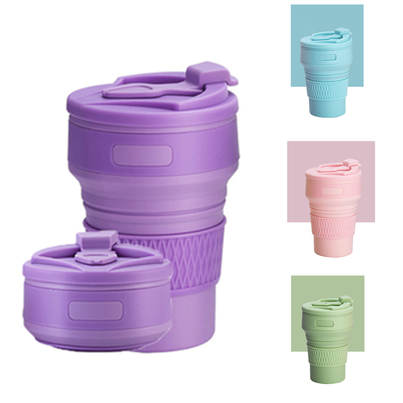 Collapsible Coffee Cups BPA FREE 350ML Folding Liquid Silicone Water Bottles Travel Tea Cups  Food Grade Water Drinking Cup