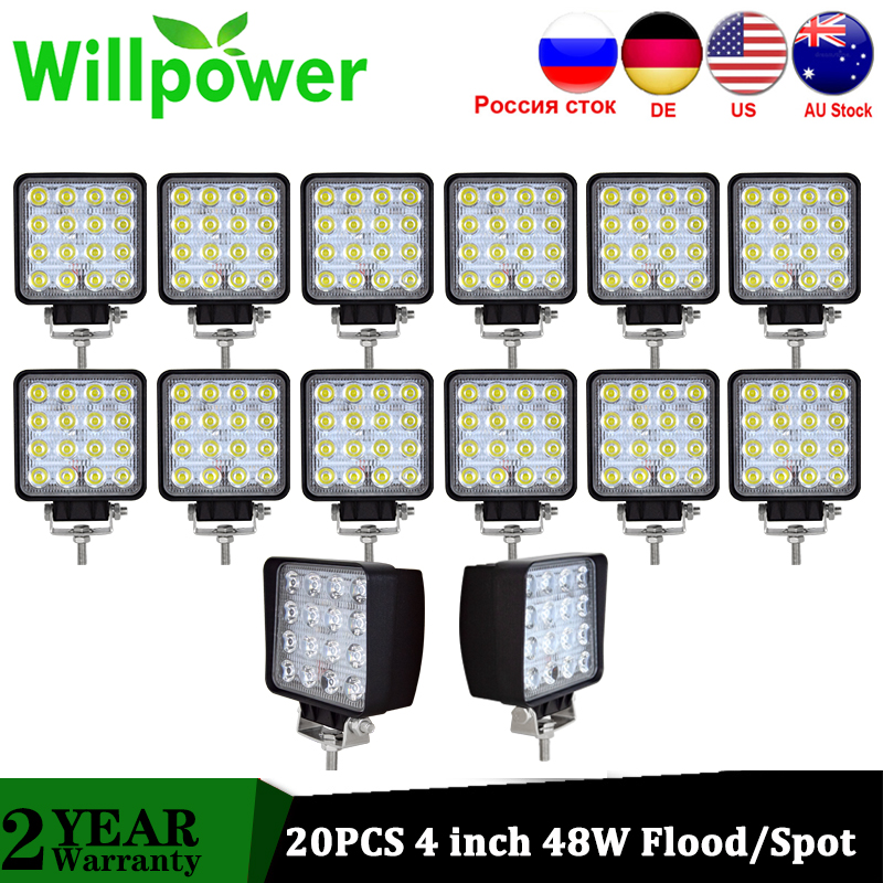 Willpower 20 PCS High Power IP67 waterproof Offroad 4x4 led driving light truck tractor flood beam 48w led work light 12V 24V