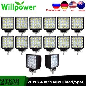 Image 1 - Willpower 20 PCS High Power IP67 waterproof Offroad 4x4 led driving light truck tractor flood beam 48w led work light 12V 24V