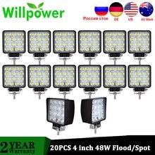 Willpower 20 pces ip67 de alta potência à prova doffágua offroad 4x4 led condução caminhão luz trator feixe inundação 48w conduziu a luz trabalho 12v 24v