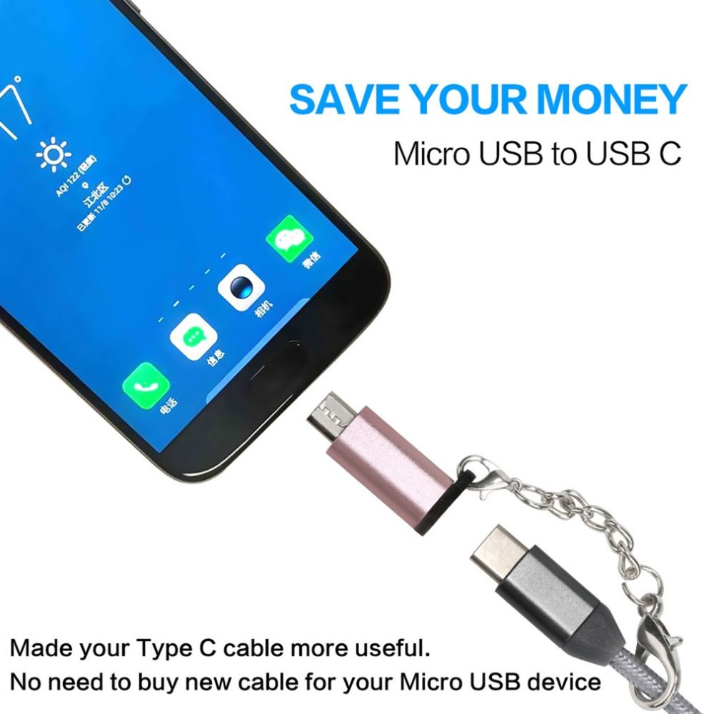 Mini Portable Aluminum USB C to Micro USB Adapter with Keychain Anti lost USB Type C to Micro USB Convert Connector in Phone Adapters Converters from Cellphones Telecommunications