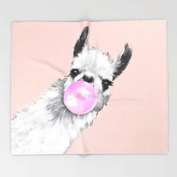 Alpaca Cartoon Throw Blanket Cute Kids Design  White Sneaky Llama In Pink Blankets For Beds Christmas Decorations For Home