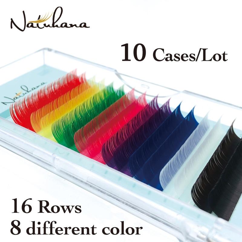 natuhana 10 casos lote vermelho rosa marrom roxo azul verde branco amarelo mix cor cilios