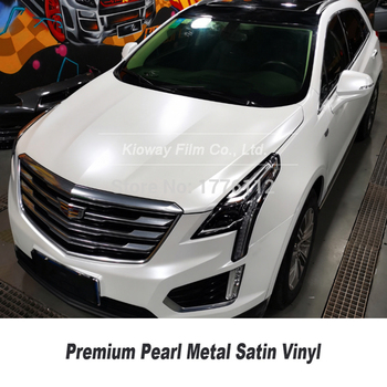 premium quality satin Pearl white  Vinyl Car Wrap Air Bubble Free For Car Wrapping Foil  size 5ft X 59ft/Roll