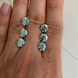 New color moissanite diamond 1ct 6.5 mm Blue Green Loose Moissanite stone