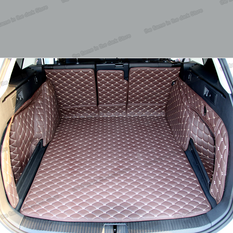 Custom Waterproof Car Trunk Mat Full Covered Cargo Liners for VW Passat 2011-2016 Black with Black Lines