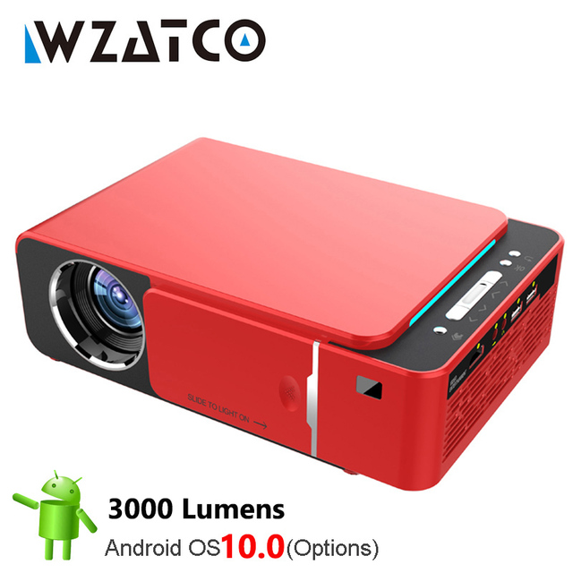 WZATCO T6 Android 10 WIFI Optional 3000lumen 720p HD Portable LED Projector HDMI Support 4K 1080p Home Theater Proyector Beamer